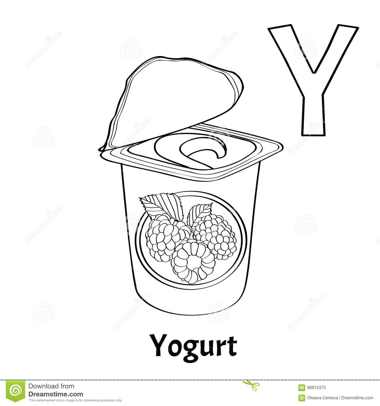 Vector Alphabet Letter Y Coloring Page Yogurt Stock Vector