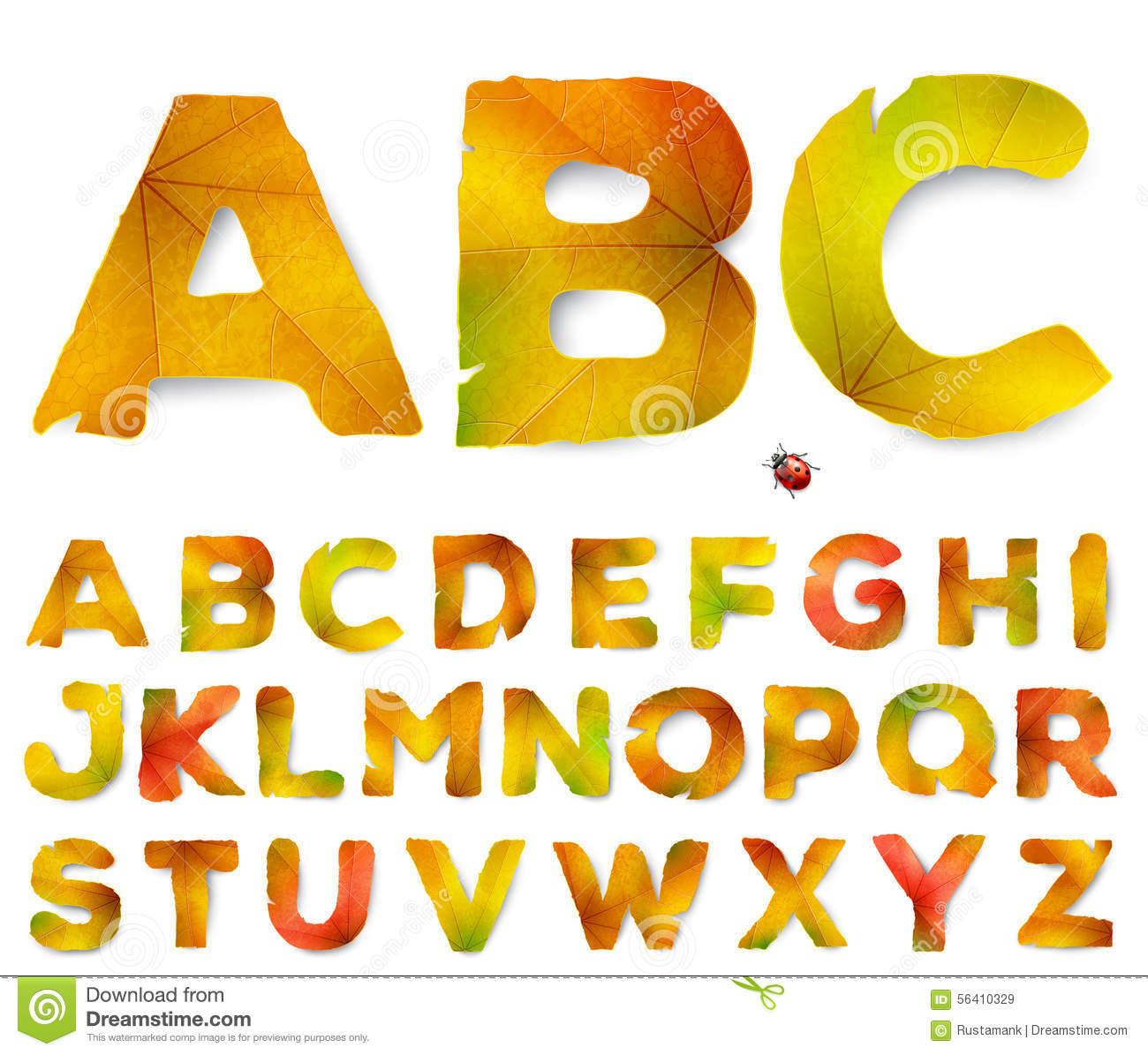 Vector alphabet letters made from autumn leaves