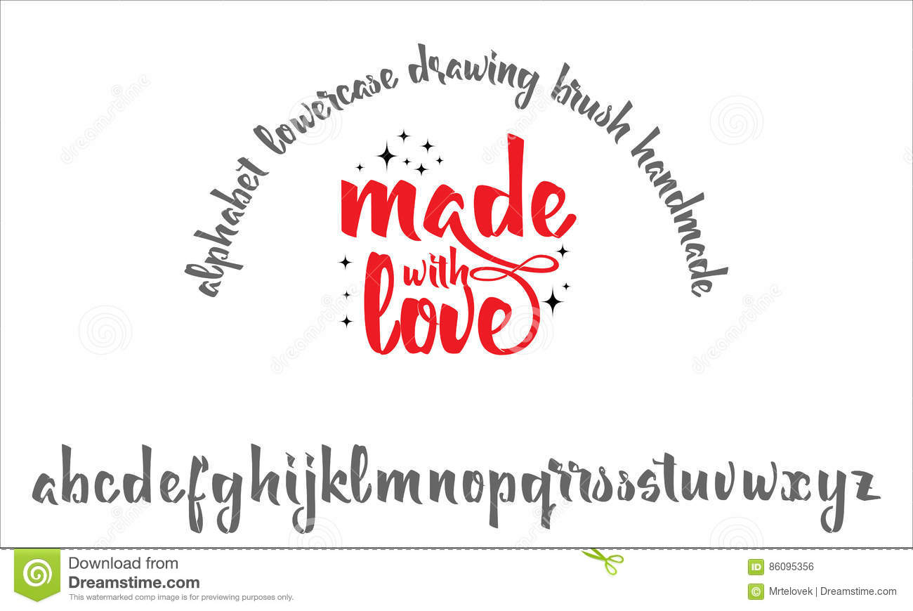 Font drawn on the basis of handwriting calligraphy modern cursive script brush made with love