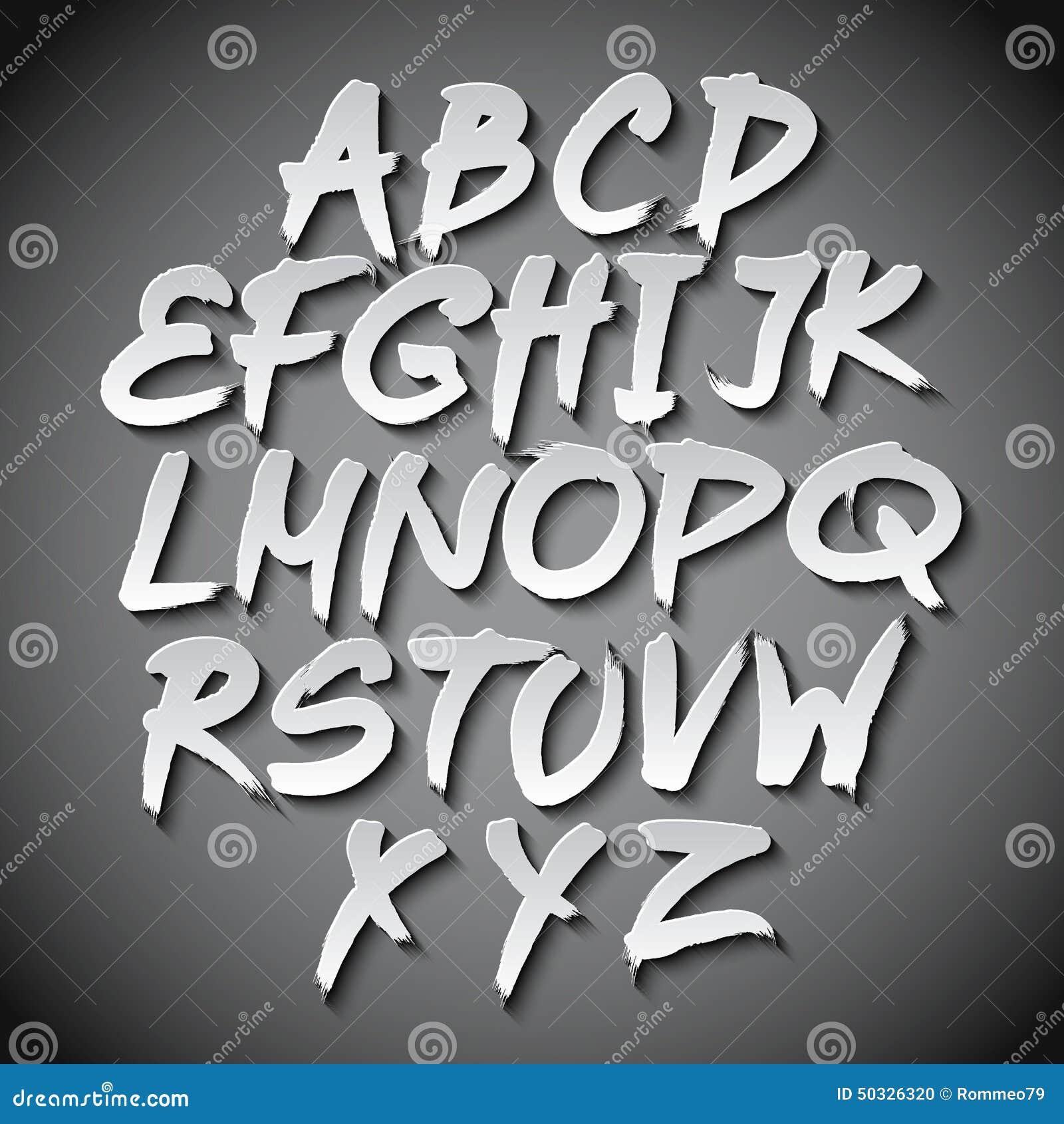Gray Alphabet Font: Vector Alphabet Set Art Grey Shadow Font Stock Vector