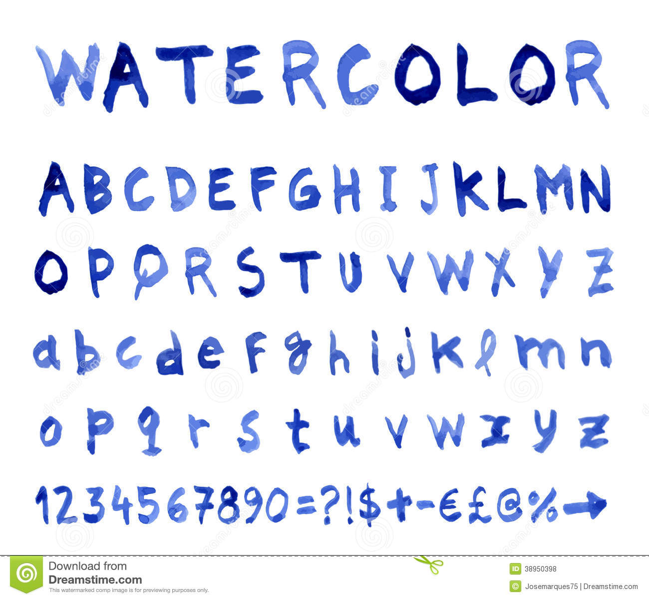 Vector alphabet with watercolor font stock image