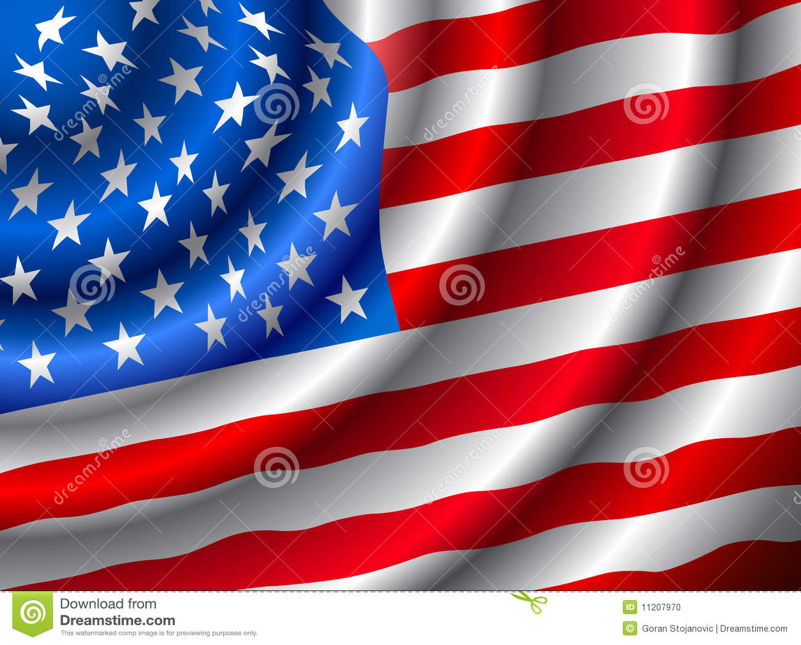 VECTOR American Flag Waving In The Wind Stock Vector ...