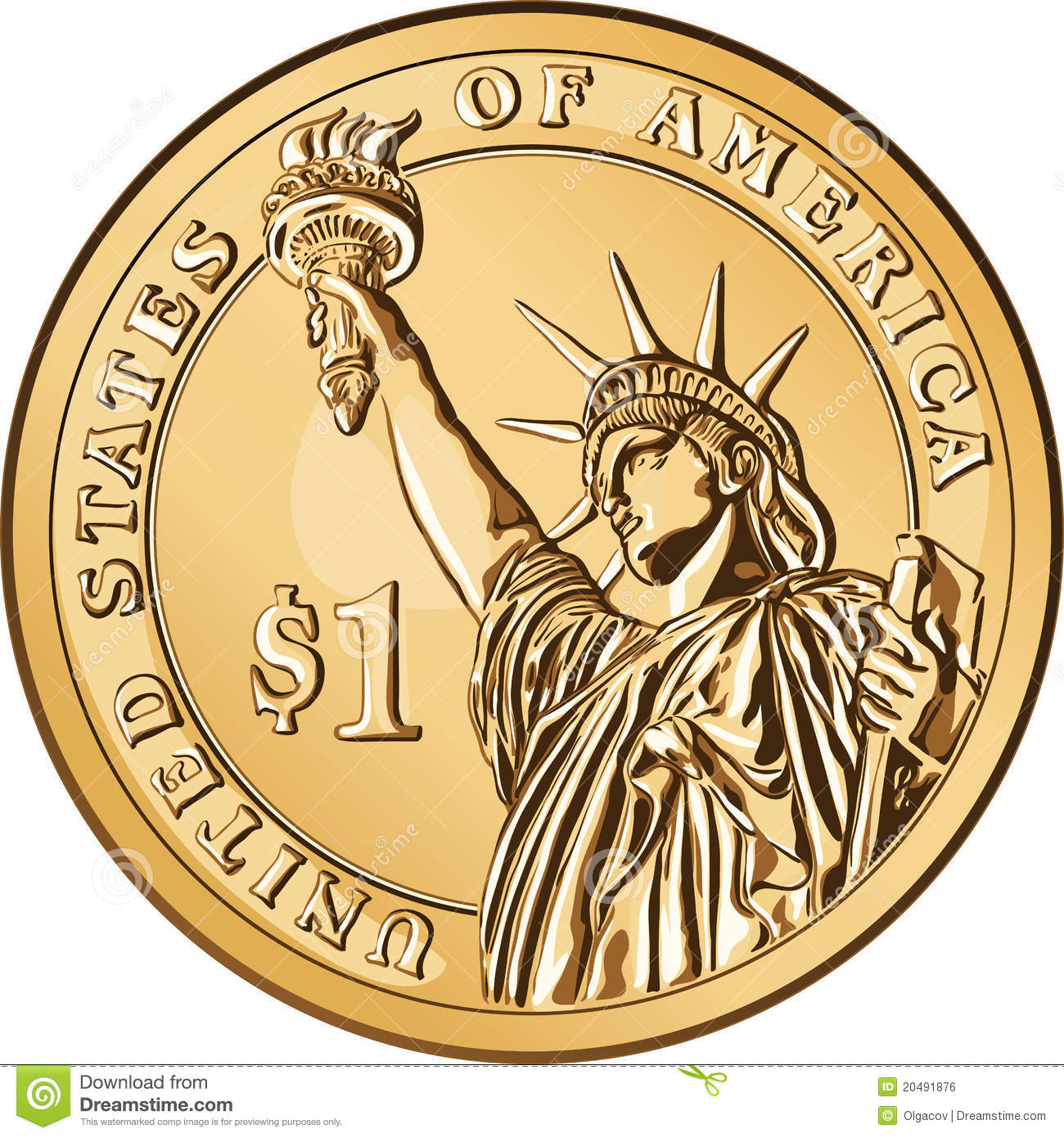 Vector American Gold Coin One Dollar Royalty Free Stock Image - Image ...