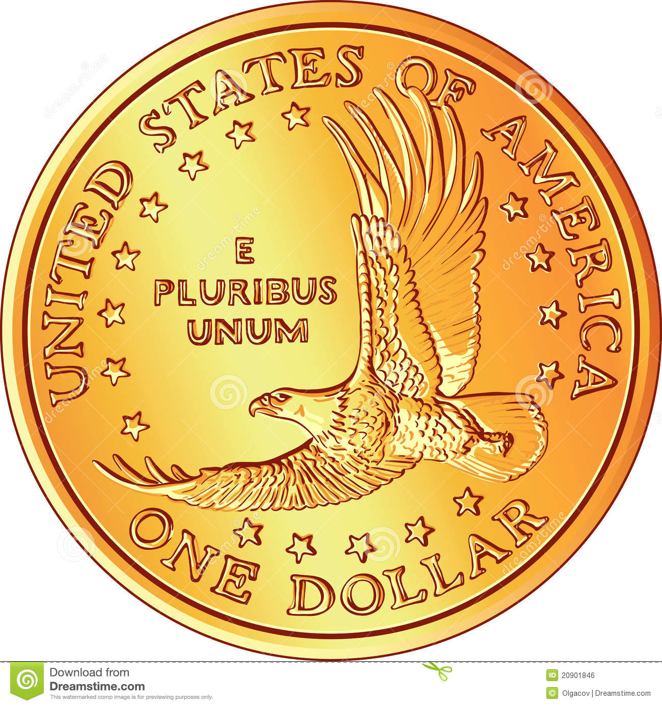 ... Dollar Gold Coin With Eagle Royalty Free Stock Image - Image: 20901846