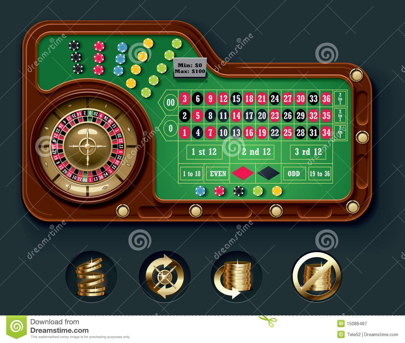 Blackjack table top view - Vector American Roulette Table Layout Royalty Free Stock Photography