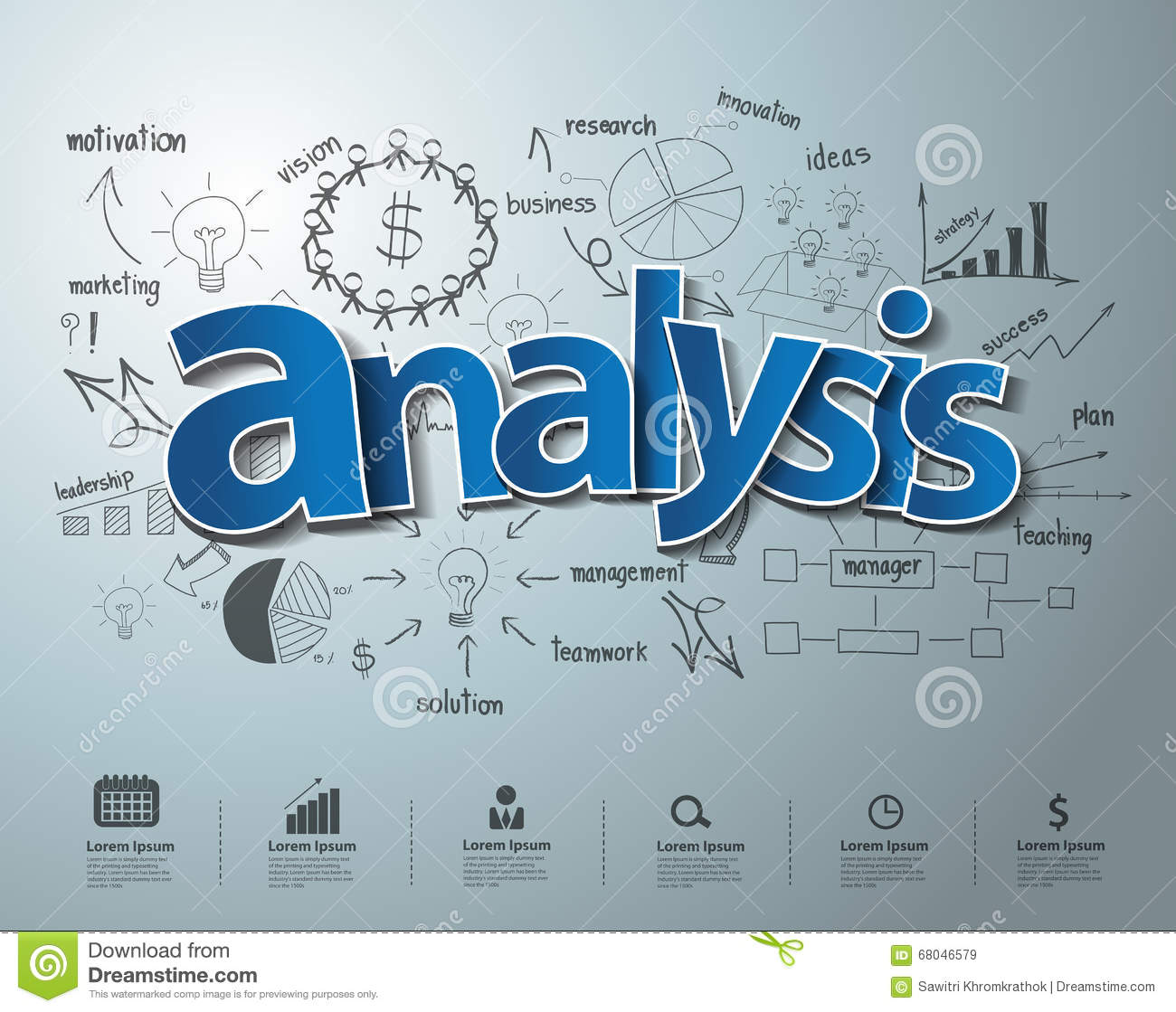 Vector Analysis Text With Creative Drawing Charts Stock Vector ...