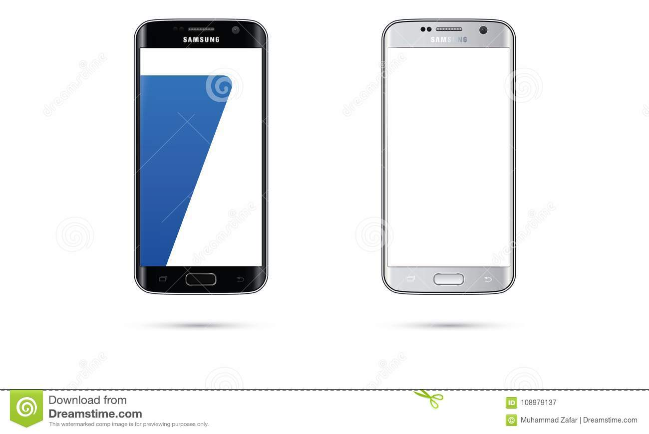 Vector Android Samsung Galaxy S7 Edge Mobile Phone Touch Screen Illustration