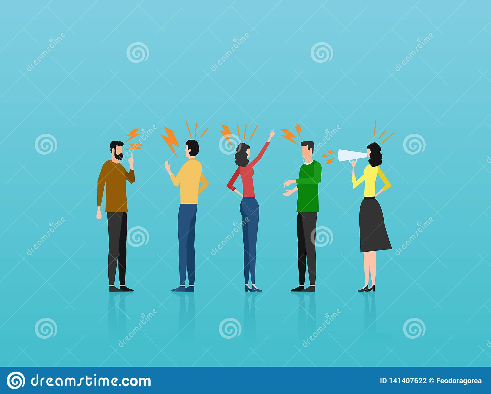 Vector of angry casual people men and women yelling at each other