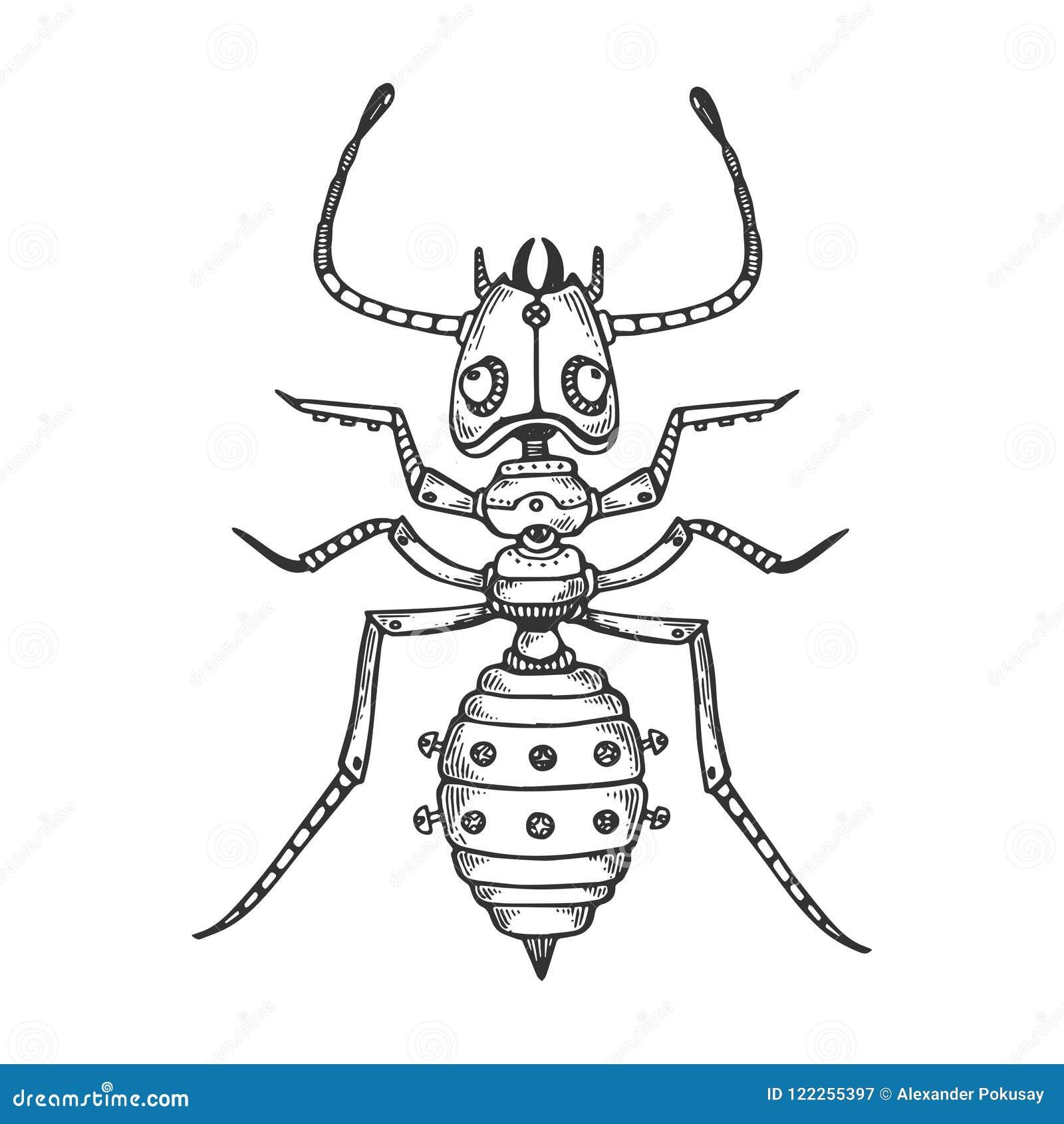 Vector animal del grabado de la hormiga mecánica