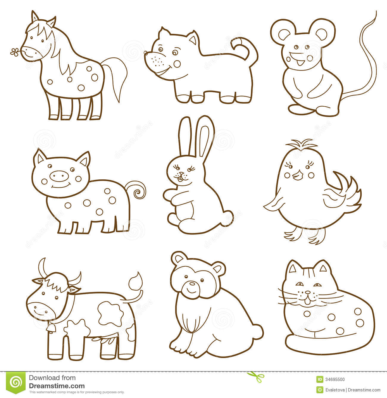 Picture to color of animals - Vector Animal Stock Photo Image 34695500