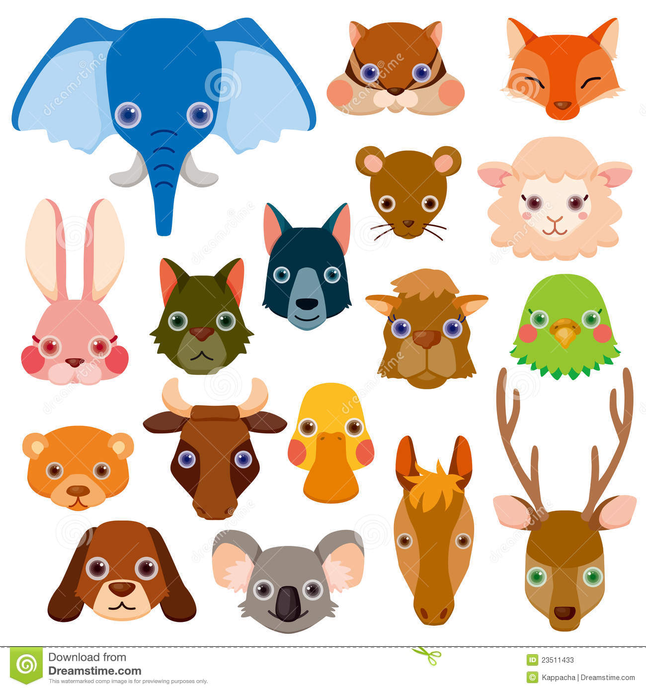 Vector animal head icons