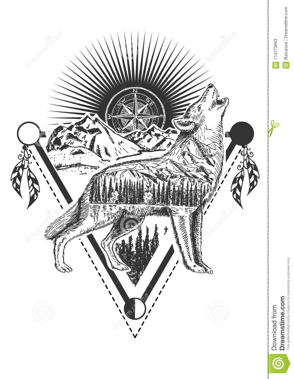 Vector Howling Wolf Tattoo Or T Shirt Print Design Stock Vector