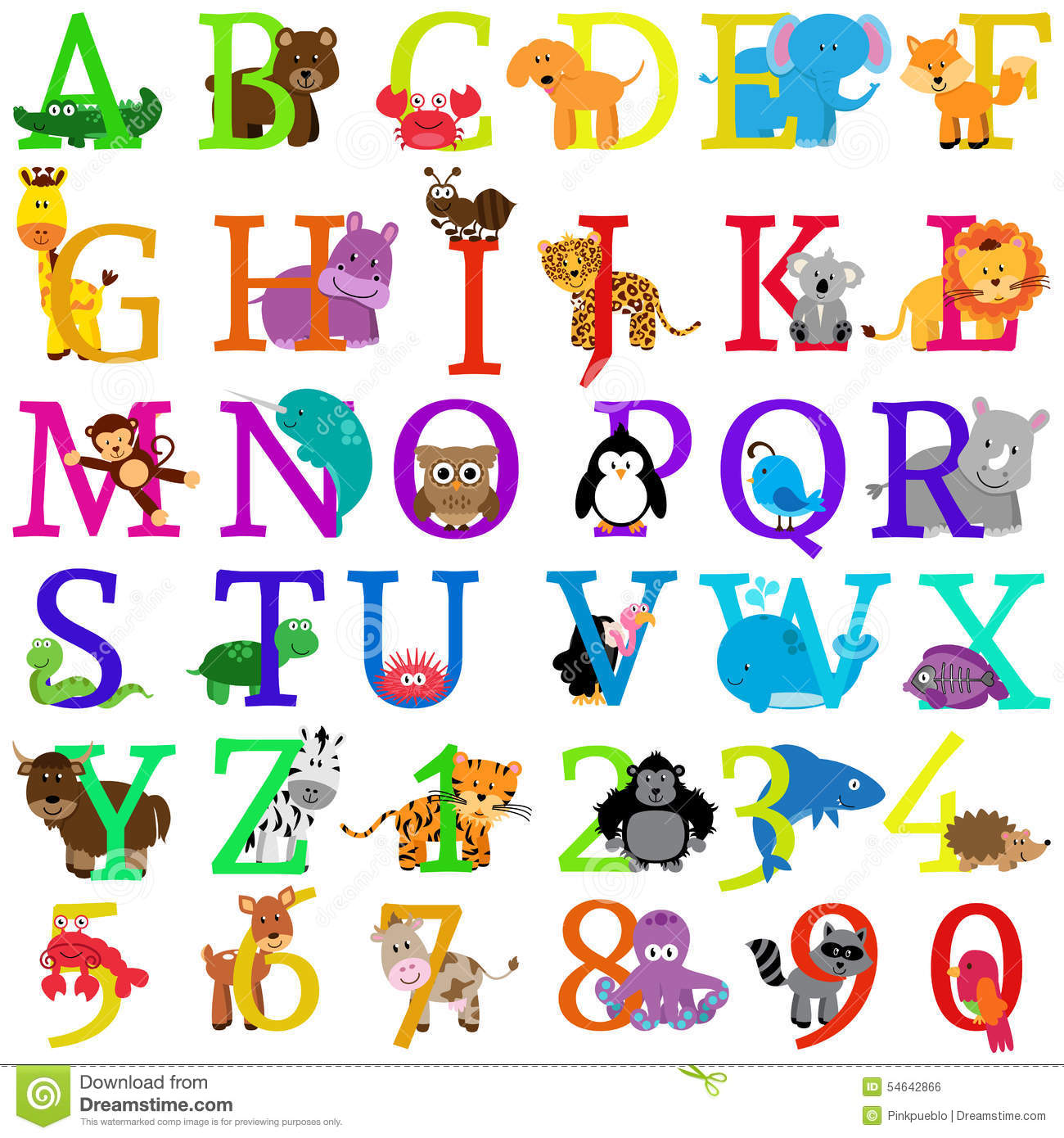 Vector Animal Themed Alphabet Stock Vector Image 54642866
