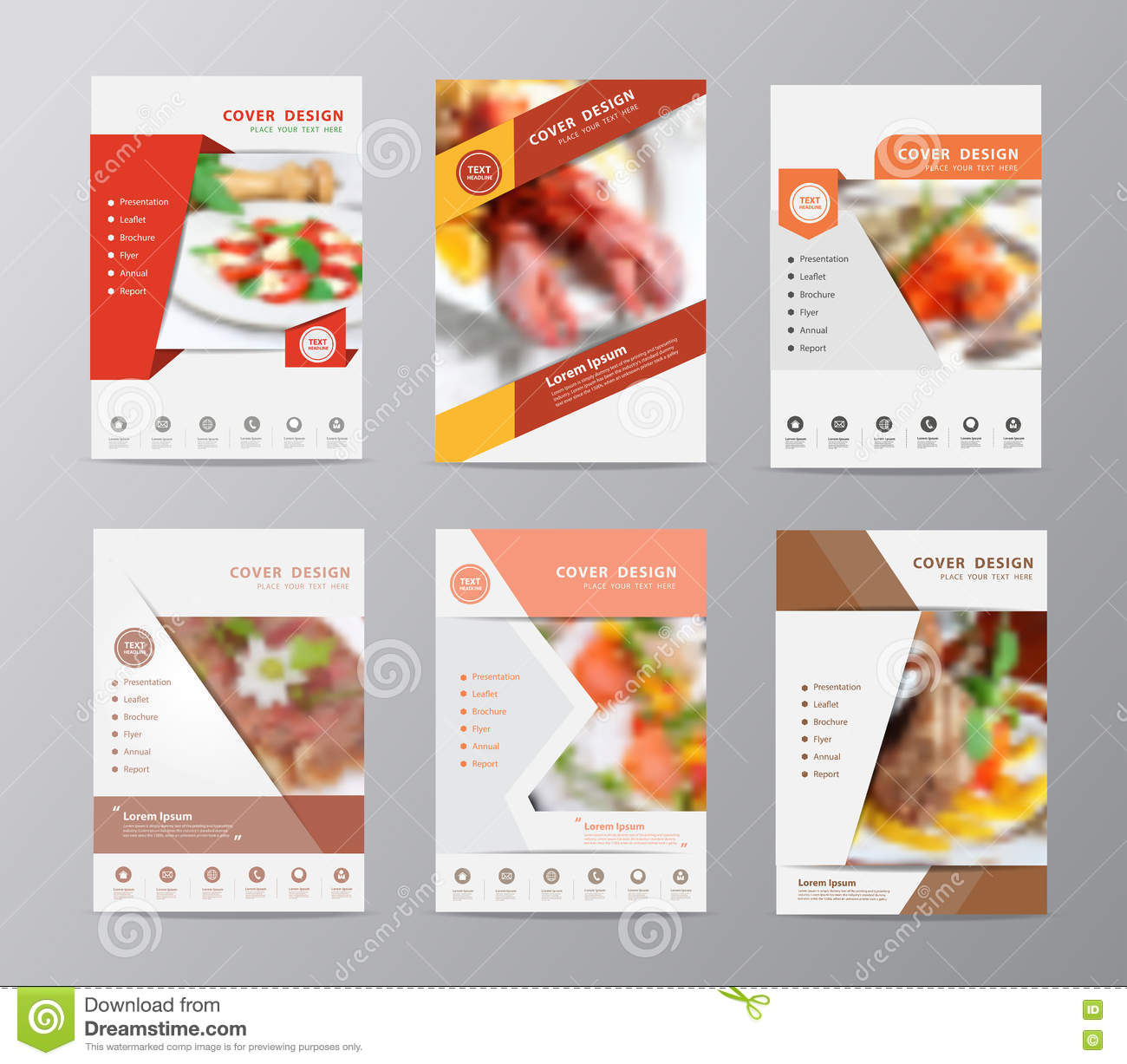Vector Annual Report Brochure Flyer Food Blurred Background