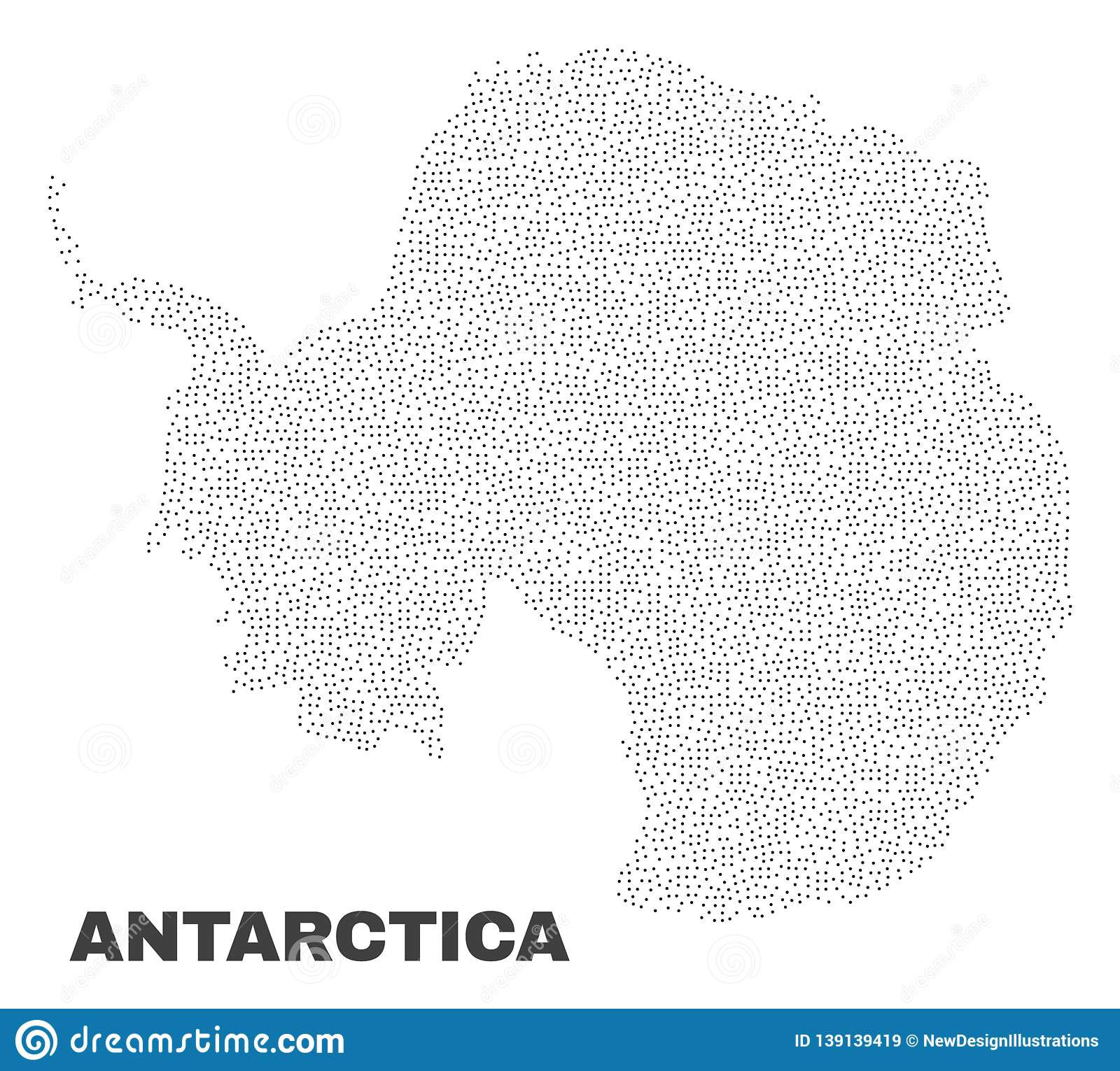 Vector Antarctica Continent Map of Points