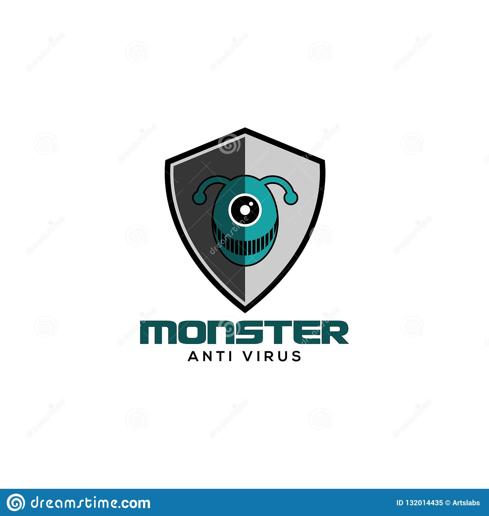 Vector anti del logotipo del virus del monstruo