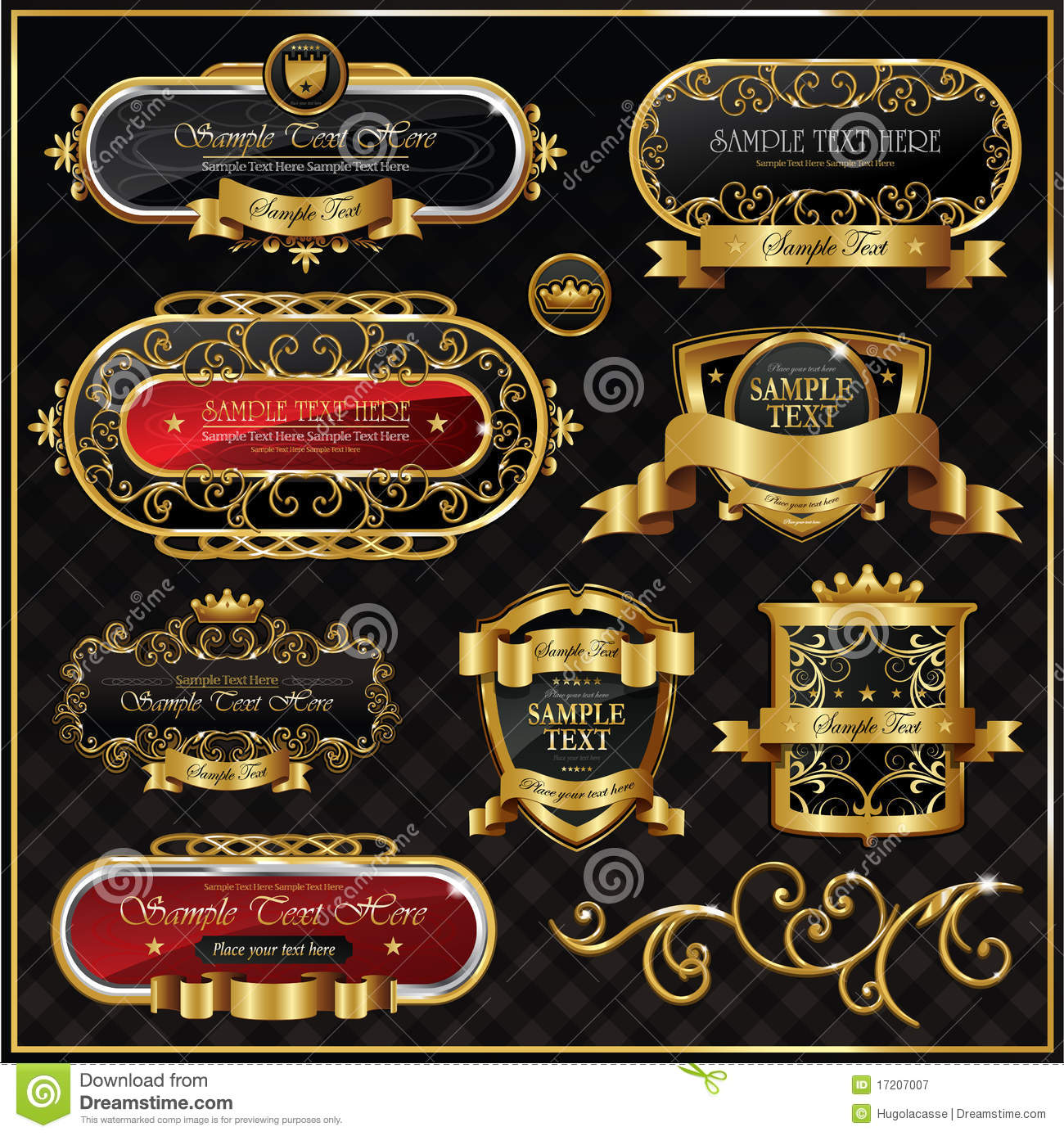 Vector Antique Gold Frame Royalty Free Stock Photography ...