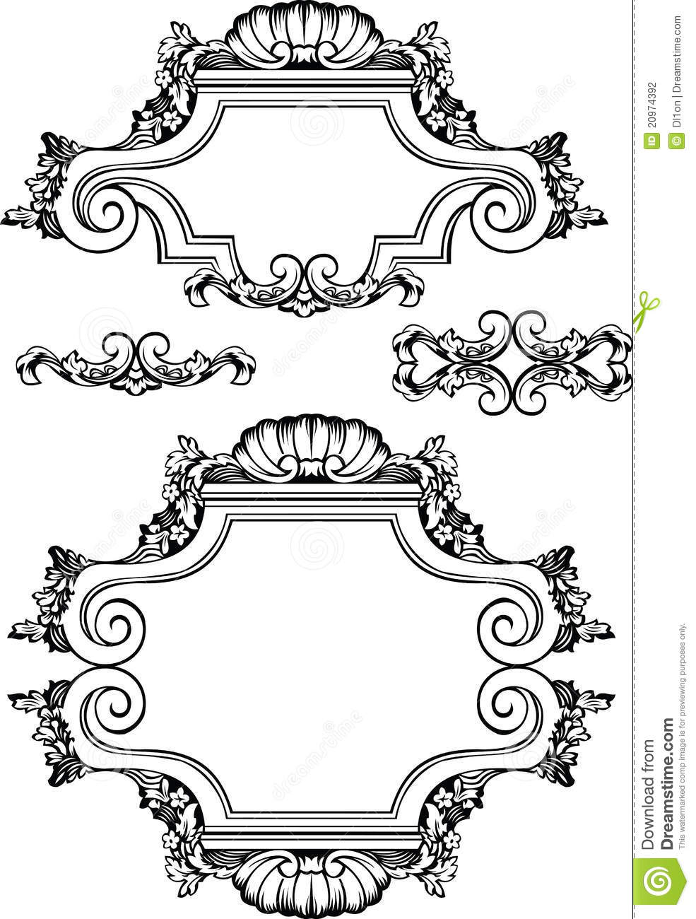Vector Antique Vintage Frames And Elements  Isolated On White For    Antique Picture Frames Vector
