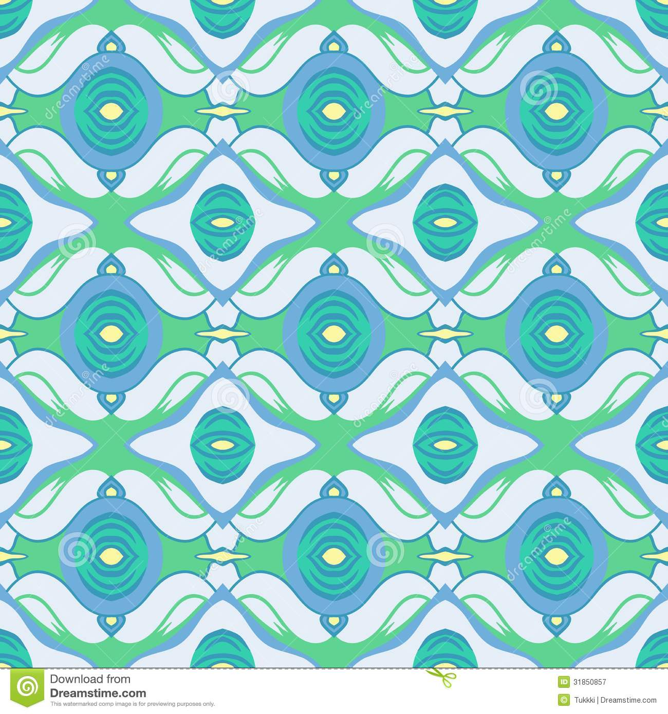 Blue And Green Decor Vector Arabic Pattern In Cool Blue And Green Royalty Free Stock