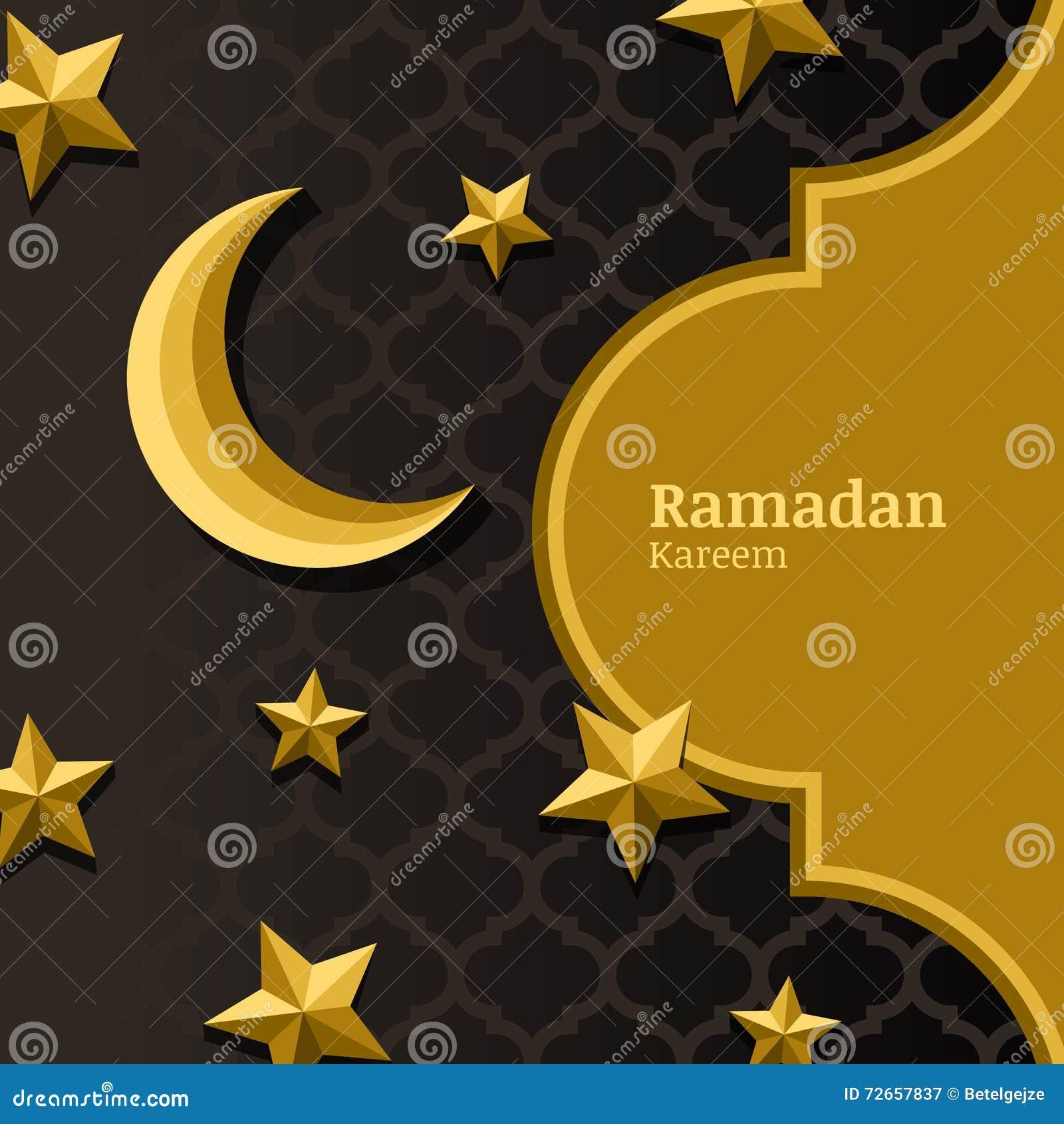 Vector Arabisches Muster, 3d Stilisierten Goldenen Mond, Sterne Und ...
