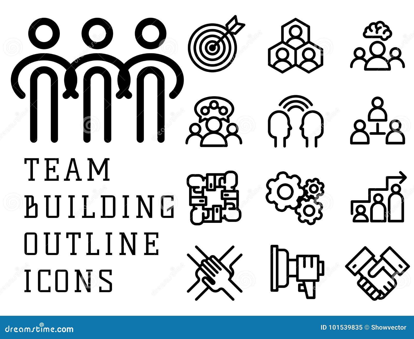 Vector Arbeitsmanagement-Entwurfstrainingsikonen des Illustrationsgeschäftsteamentwicklungsleutekonzeptes teambuilding