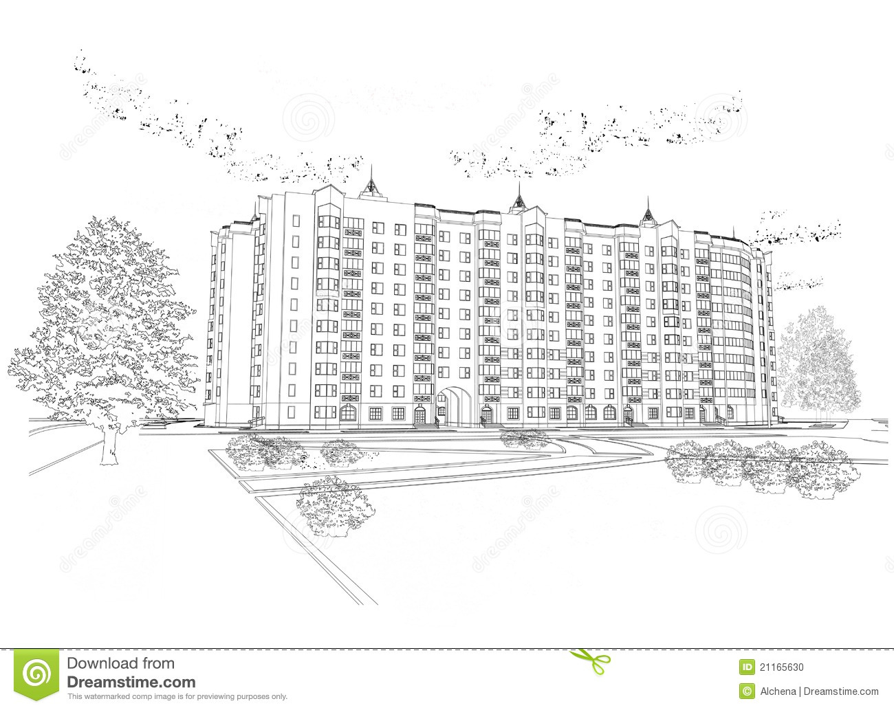 Black And White Apartment Building Clip Art
