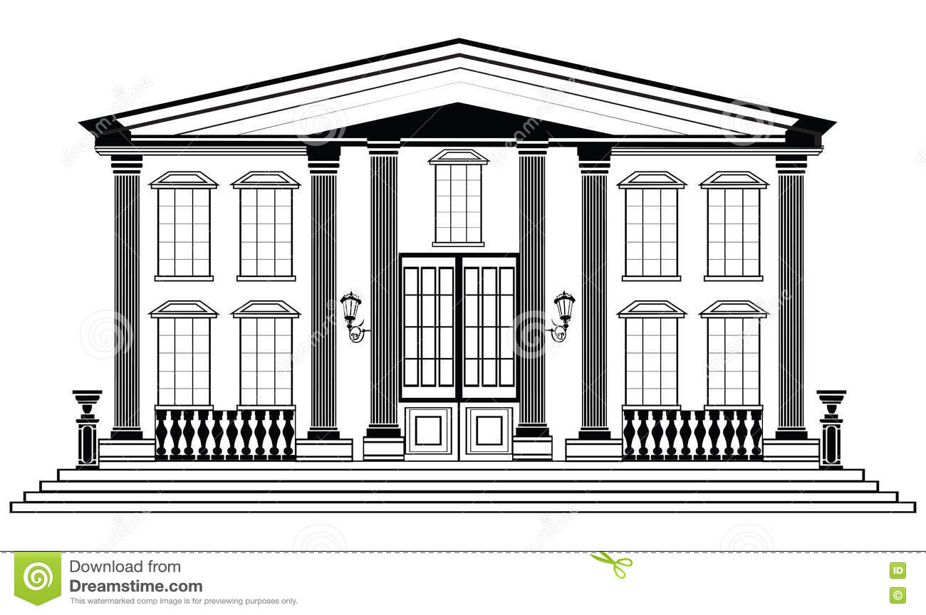 Vector architectural facade wire frame blueprint drawing for Classic builders