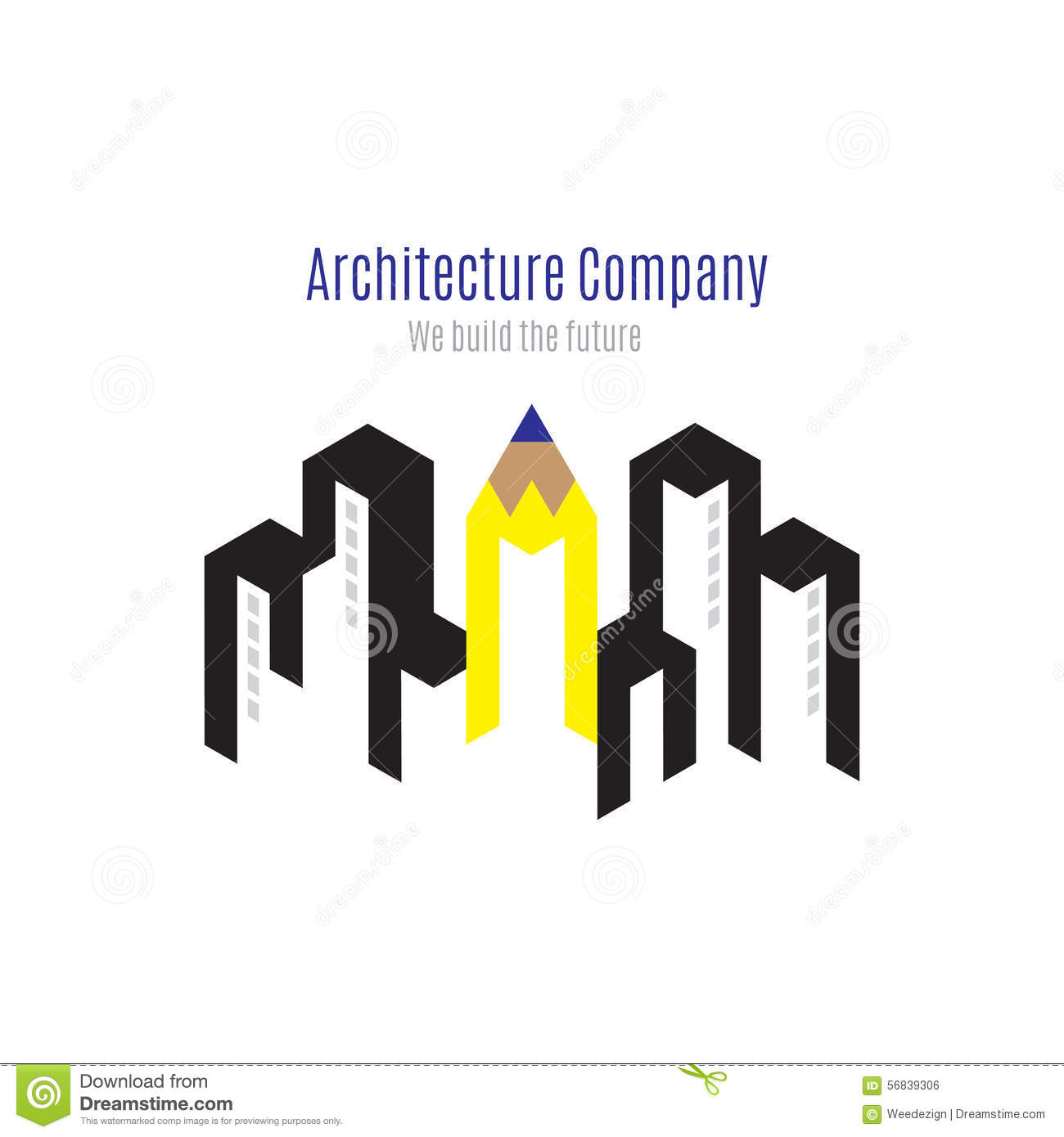 Attractive Vector : Architecture Company Logo With Building And Yellow Penc Stock  Vector   Illustration Of Abstract, Pencil: 56839306