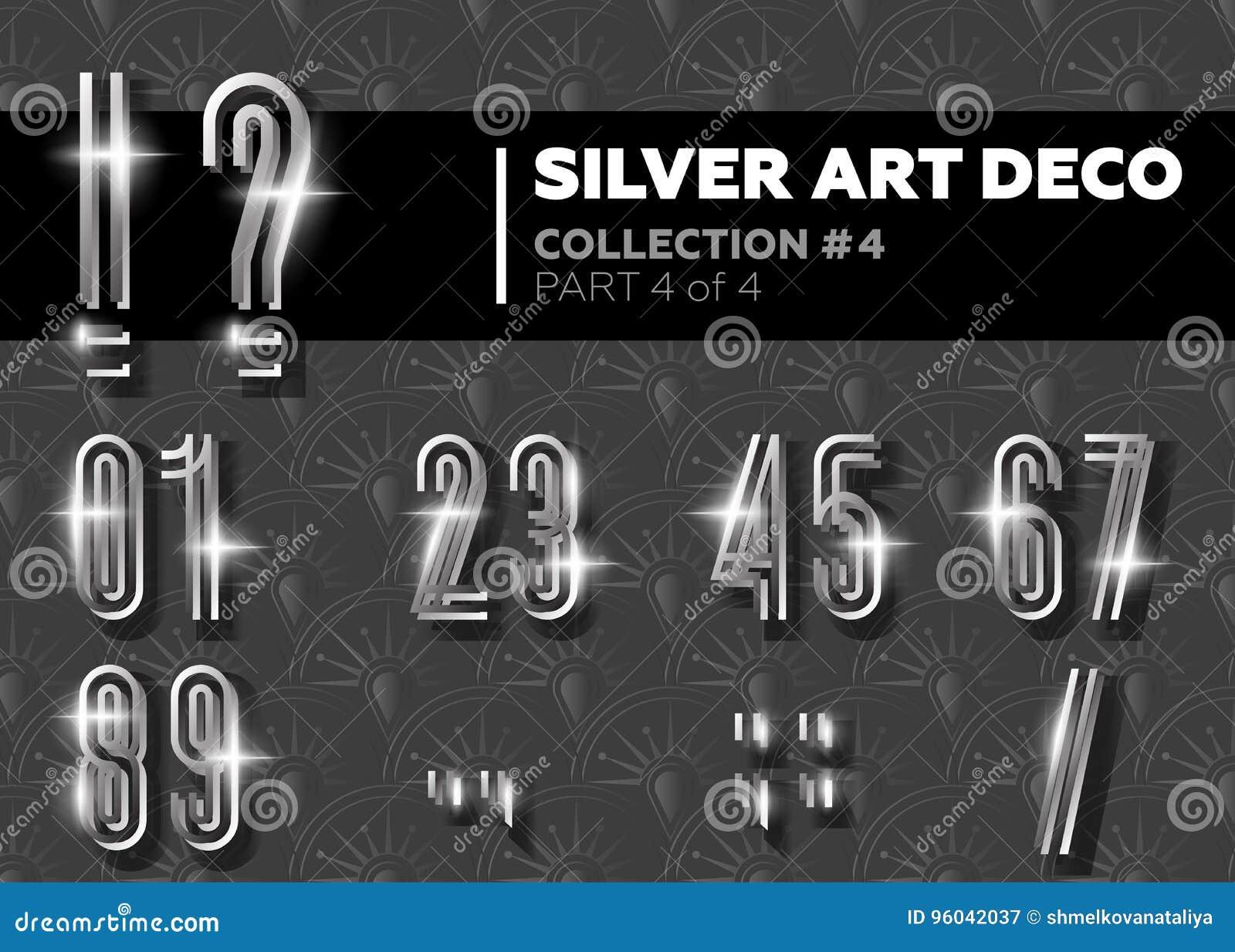 Vector Art Deco Font Alfabeto retro de plata brillante Gatsby Styl