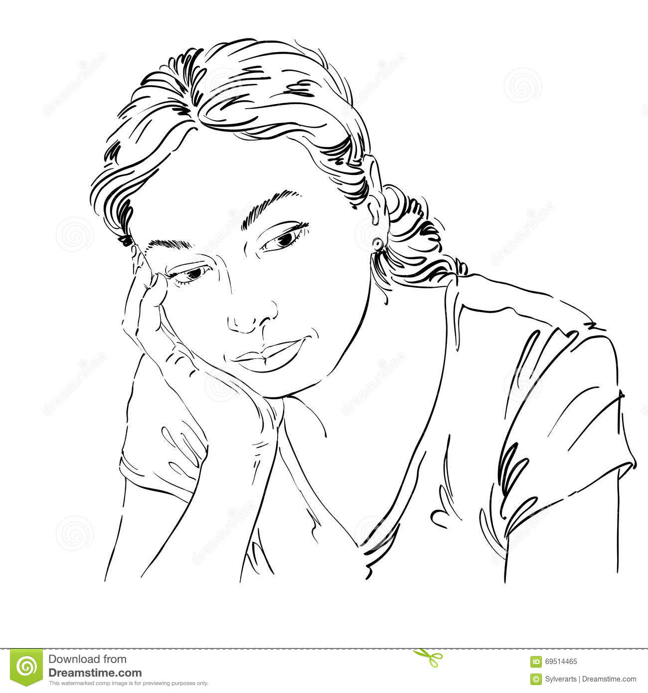 Vector Art Drawing Portrait Of Sad And Depressed Girl