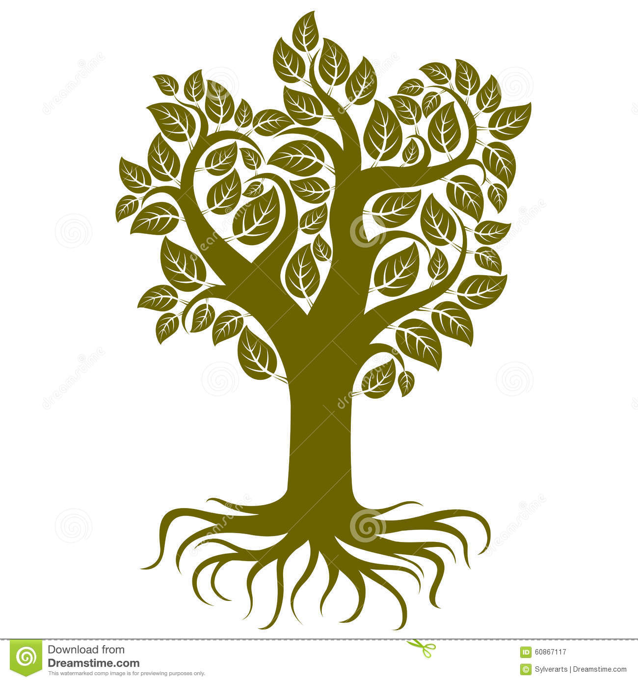 Vector Art Illustration Of Tree With Strong Roots Stock Vector