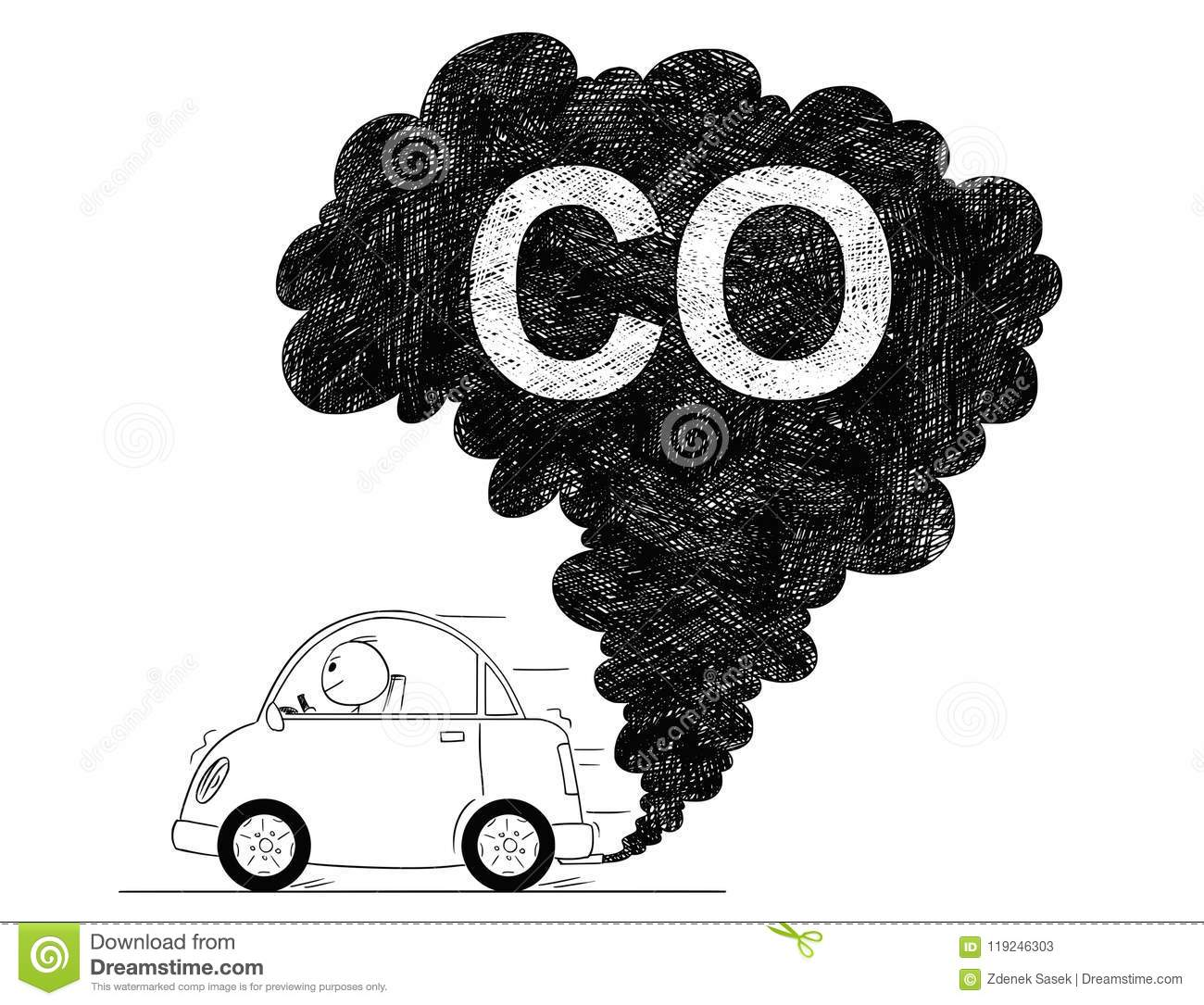 Vector Artistic Drawing Illustration of Car Air CO Pollution