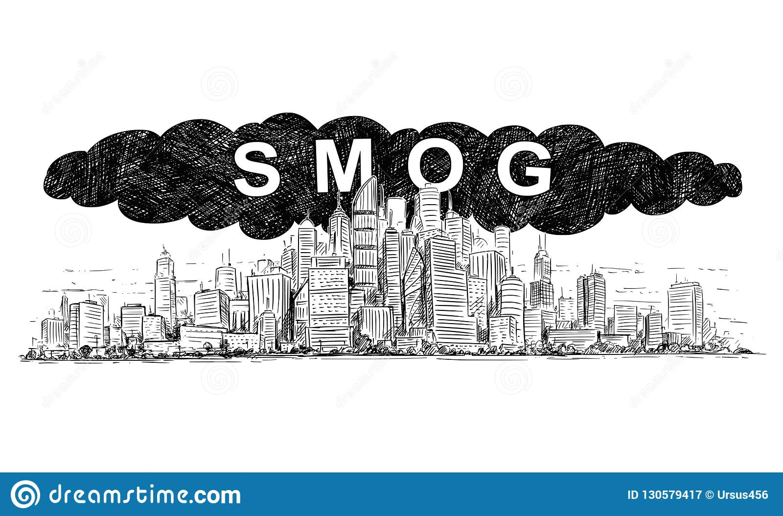 Vector artistic drawing illustration of city covered by smog and air pollution