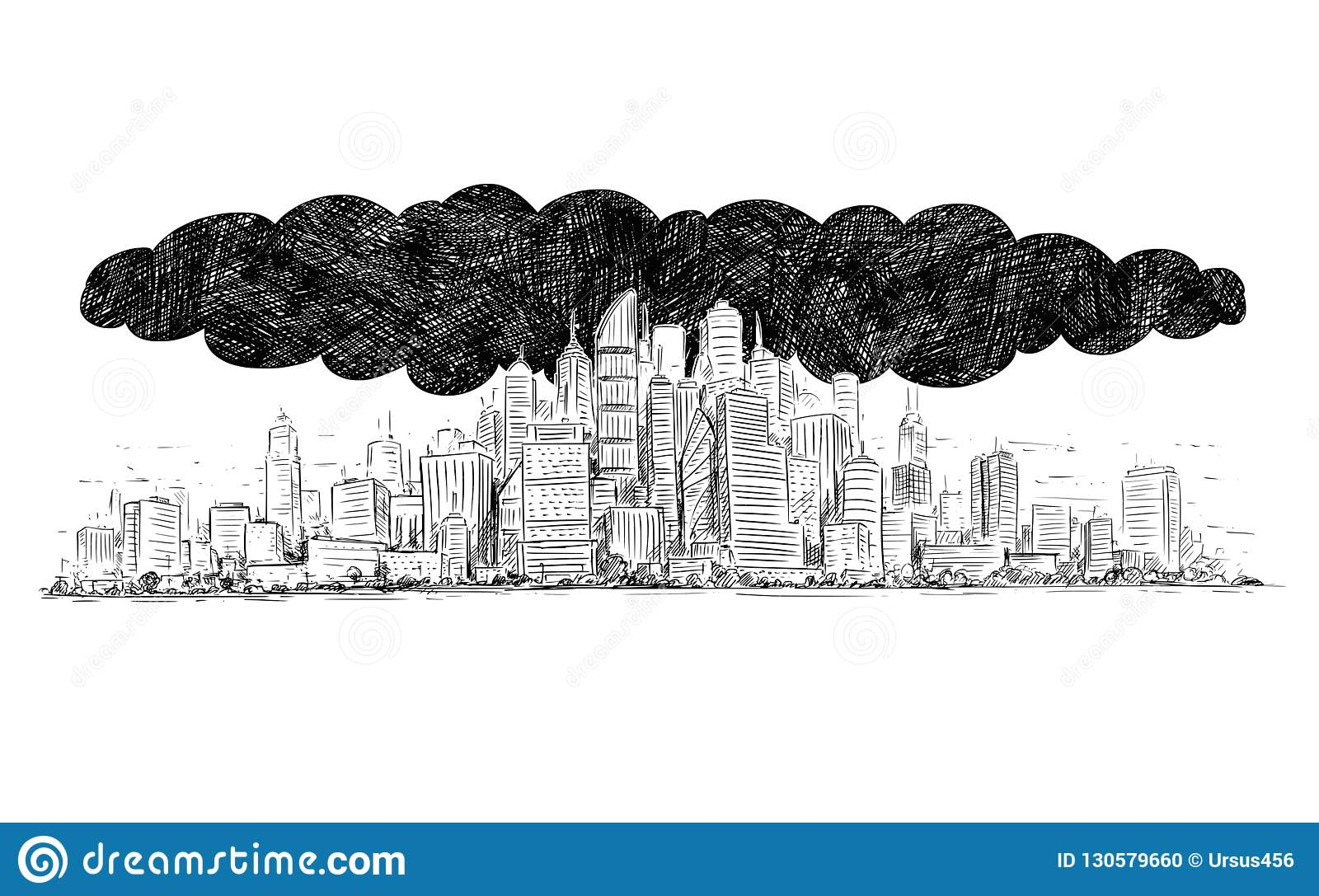 Vector artistic drawing illustration of city covered by