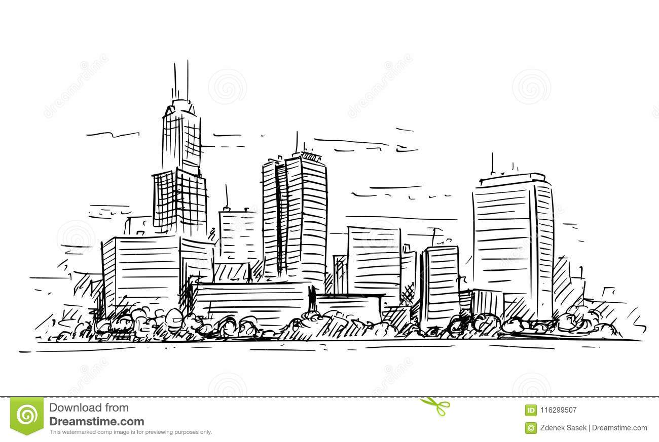 Download Vector Artistic Drawing Illustration Of Generic City High Rise Cityscape Landscape With Skyscraper Buildings Stock