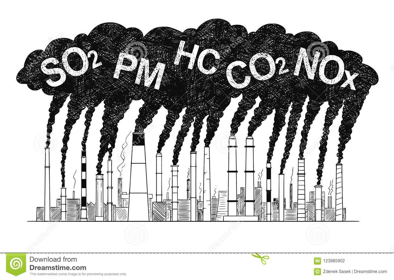 Vector artistic drawing illustration of smoking smokestacks concept of industry or factory air pollution