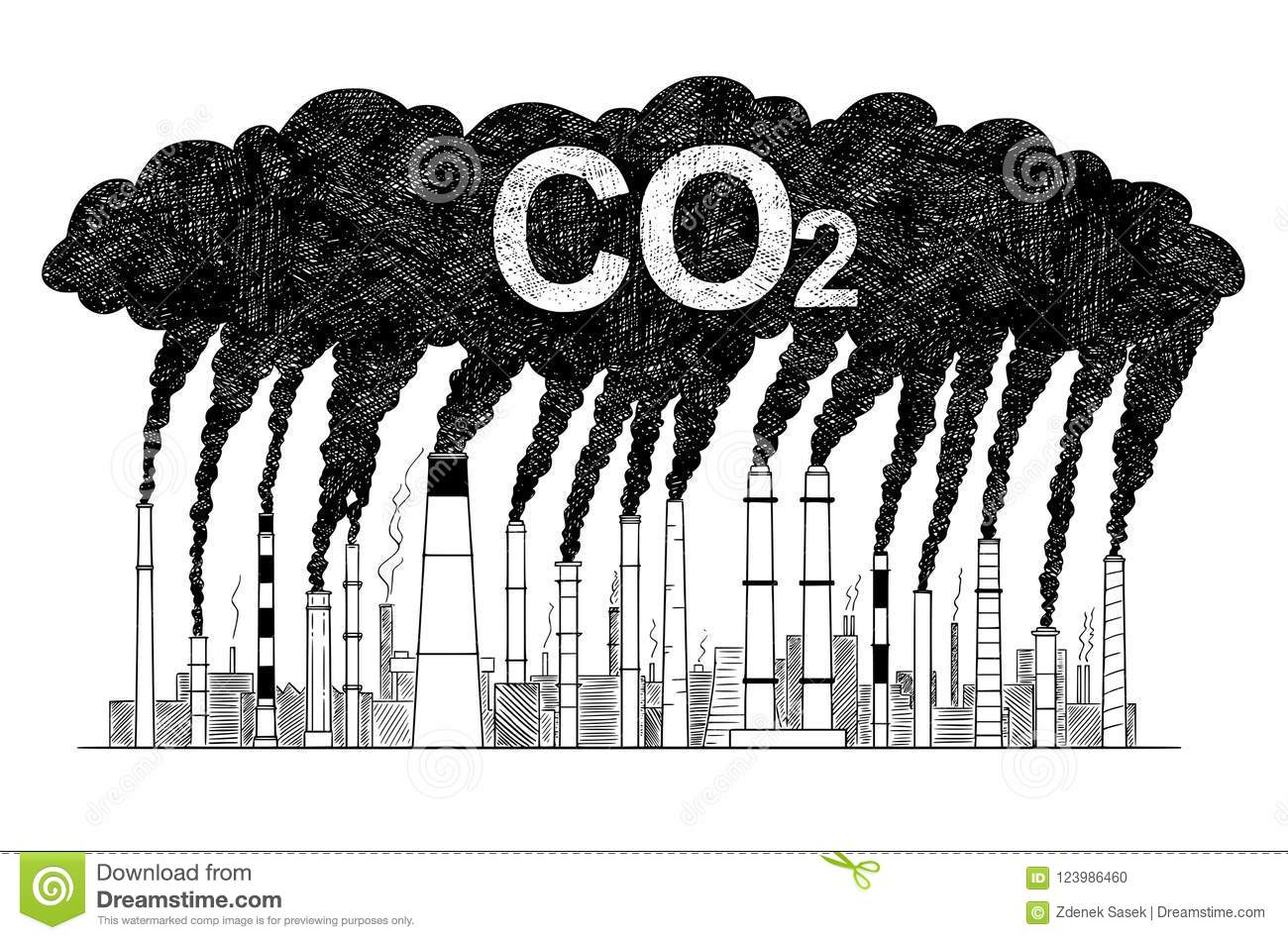 Vector artistic drawing illustration of smoking smokestacks concept of industry or factory co2 air pollution