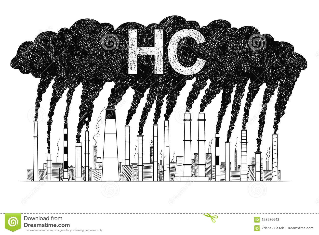 Vector artistic drawing illustration of smoking smokestacks concept of industry or factory hc air pollution