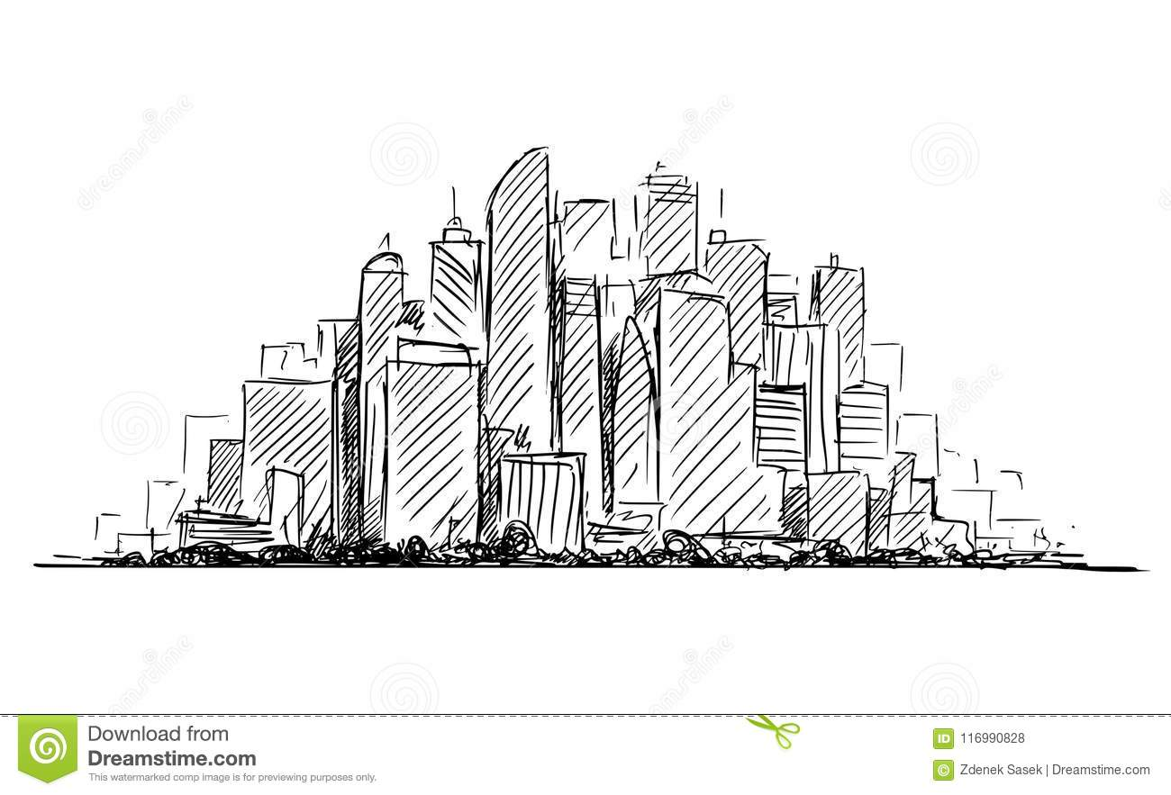 Download Vector Artistic Drawing Sketch Of Generic City High Rise Cityscape Landscape With Skyscraper Buildings Stock
