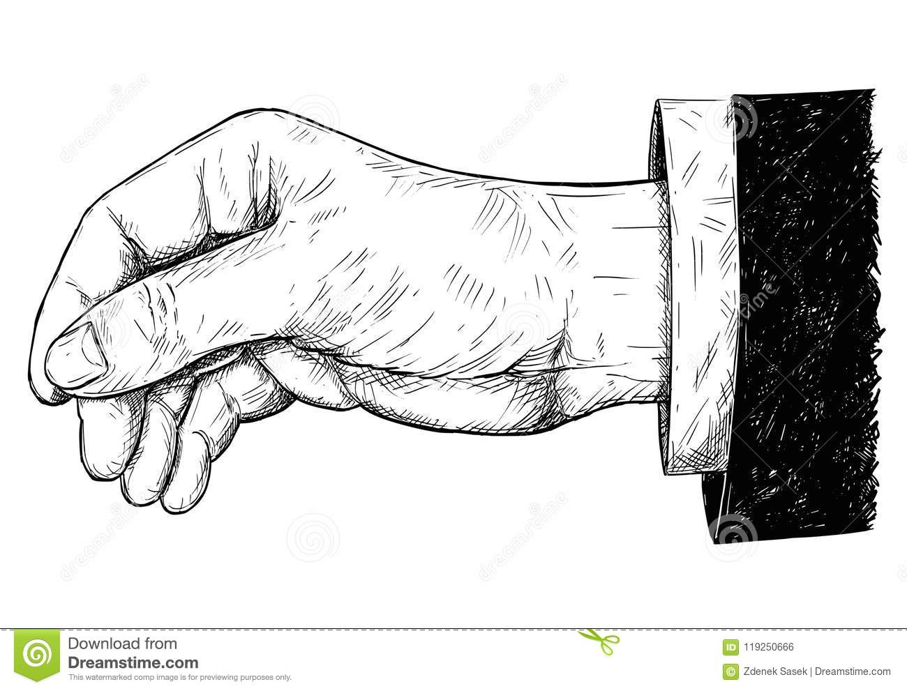 Vector Artistic Illustration Or Drawing Of Hand Holding Something