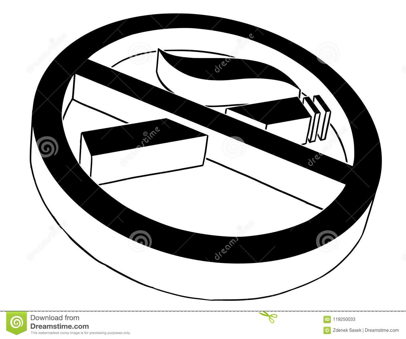 Vector Artistic Drawing Illustration Of No Smoking Symbol Or Sign