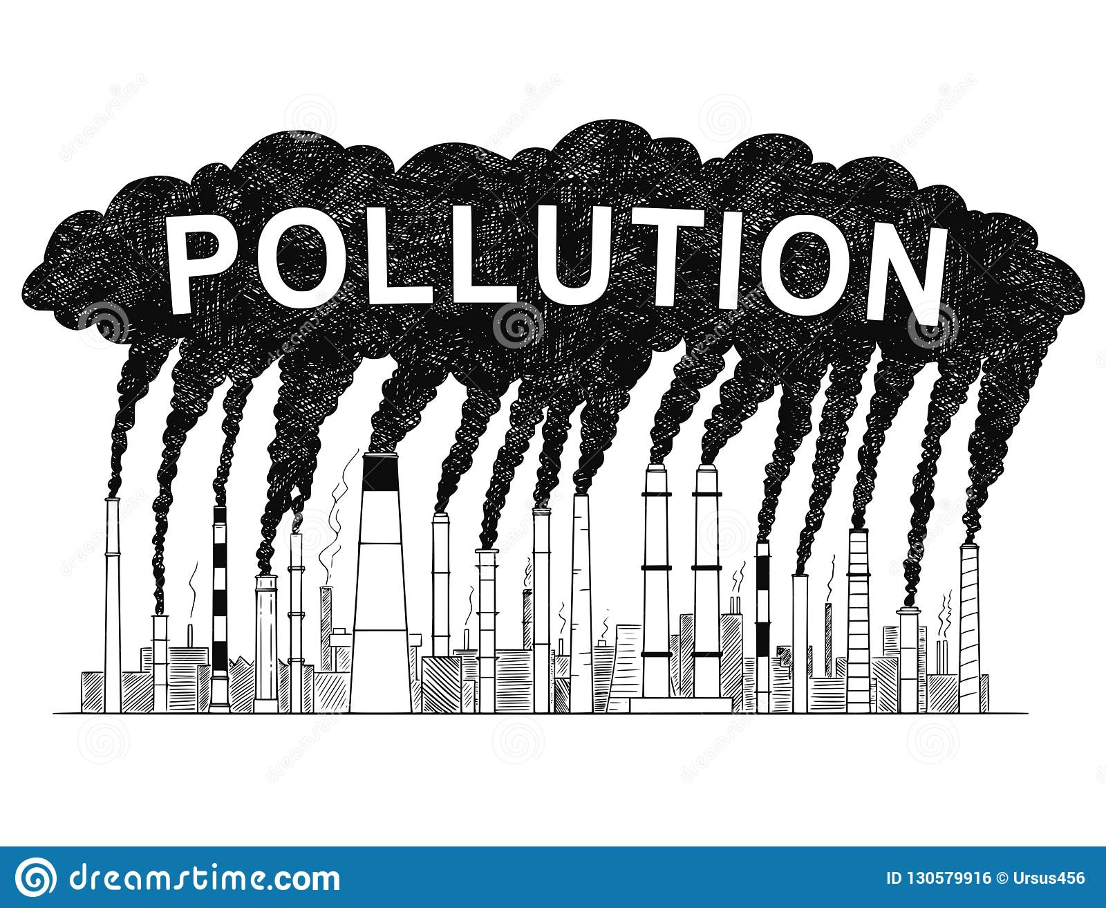 Vector artistic drawing illustration of smoking smokestacks