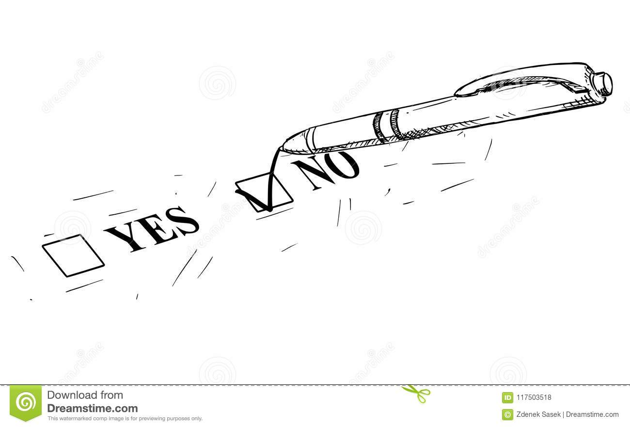 Download Vector Artistic Drawing Illustration Of Yes And No Questionnaire Form And Ballpoint Pen Stock Vector - Illustration of checker, concept: 117503518