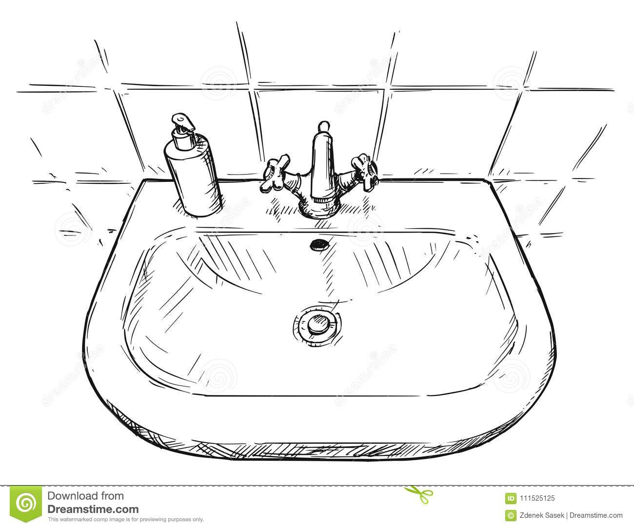 Vector Hand Drawing Of Sink In Bathroom Stock Illustration