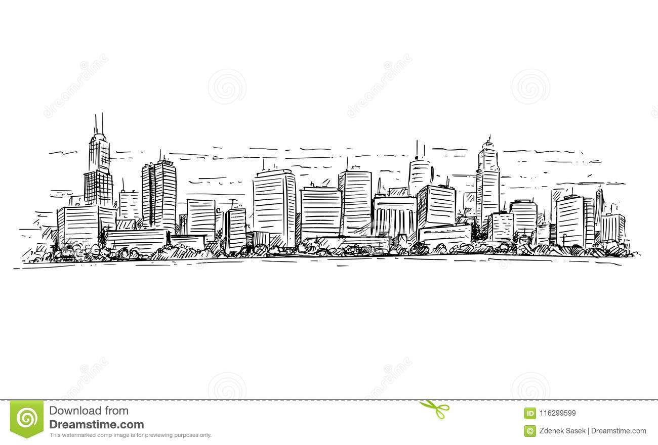 Vector Artistic Drawing Illustration Of Generic City High