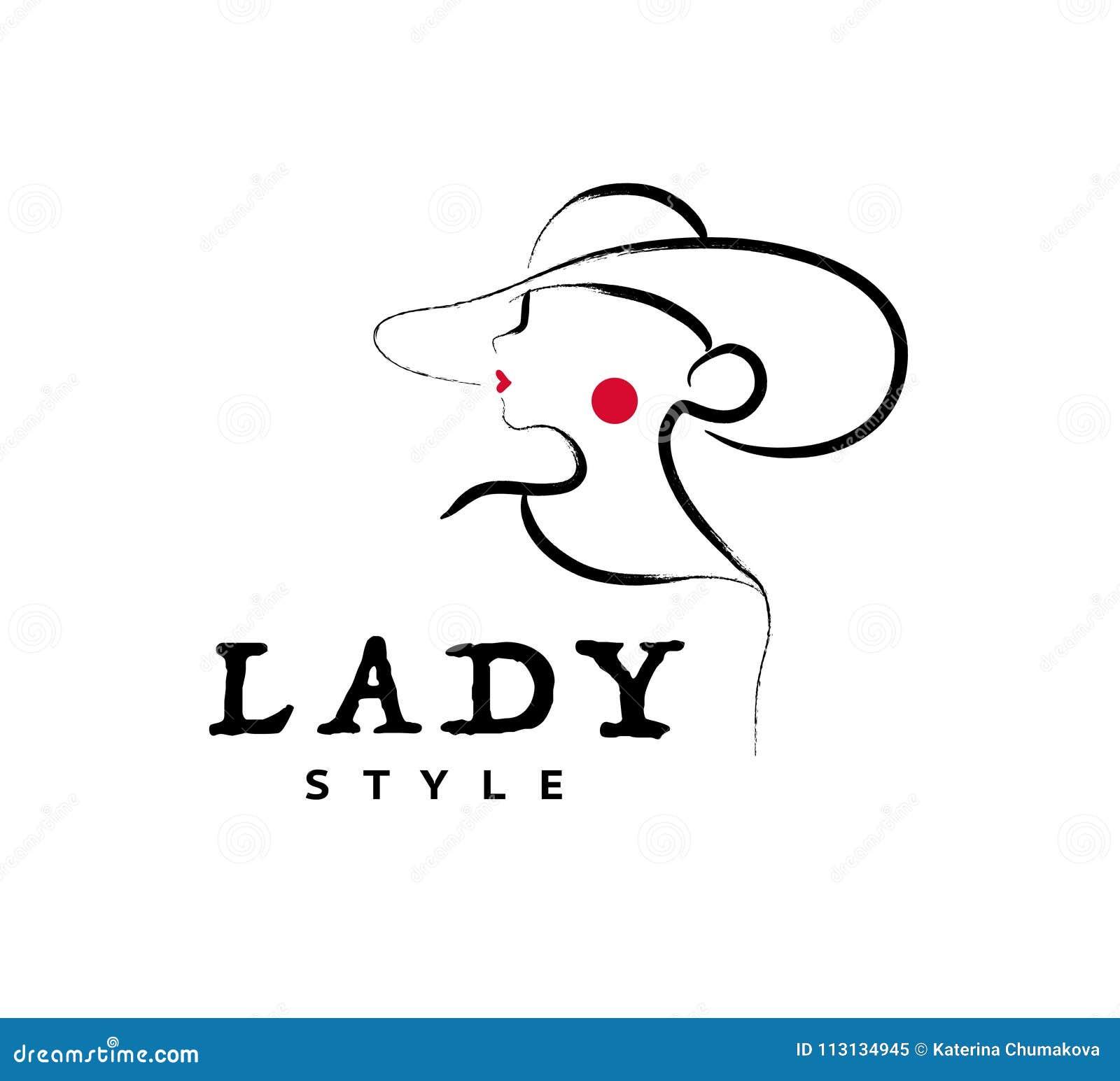 Vector artistiek embleem met hand getrokken die dame in hoedenportret op witte achtergrond wordt geïsoleerd