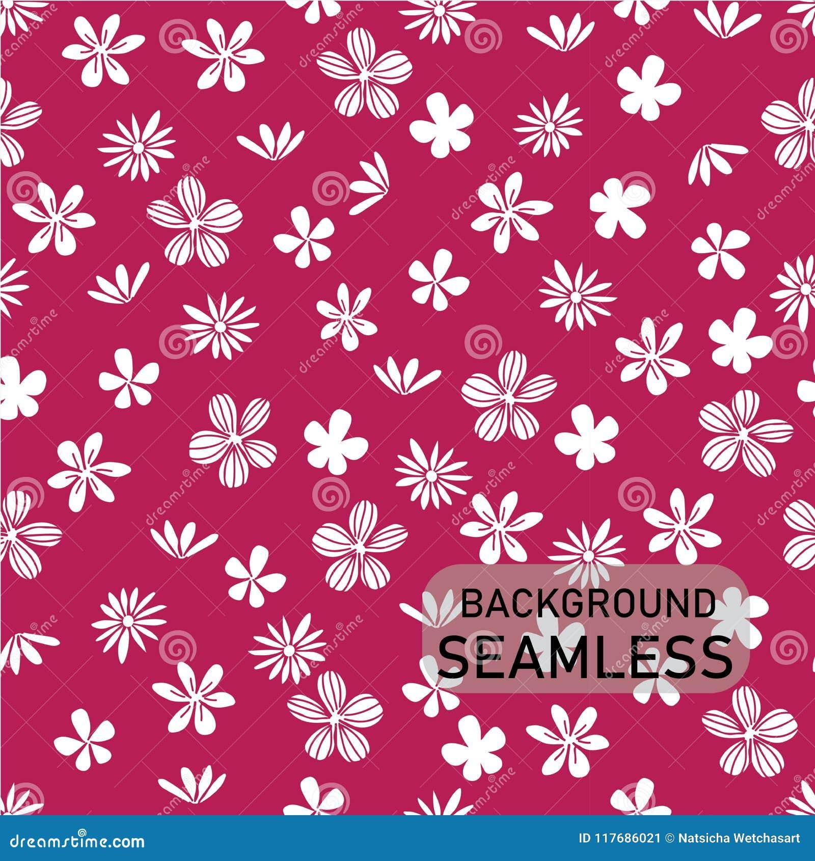 Vector as flores brancas da garatuja no fundo cor-de-rosa brilhante, estilo do vintage, fundo sem emenda