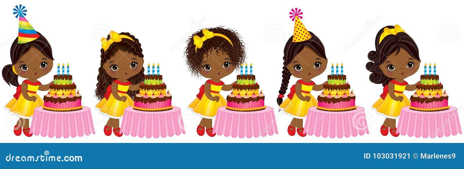 Vector as meninas afro-americanos pequenas bonitos que fundem para fora velas em bolos de aniversário