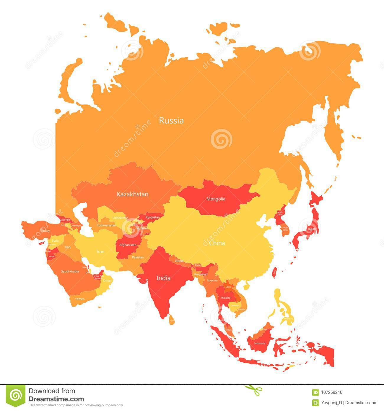 Map Of The Countries In Asia.Vector Asia Map With Countries Borders Abstract Red And Yellow Asia