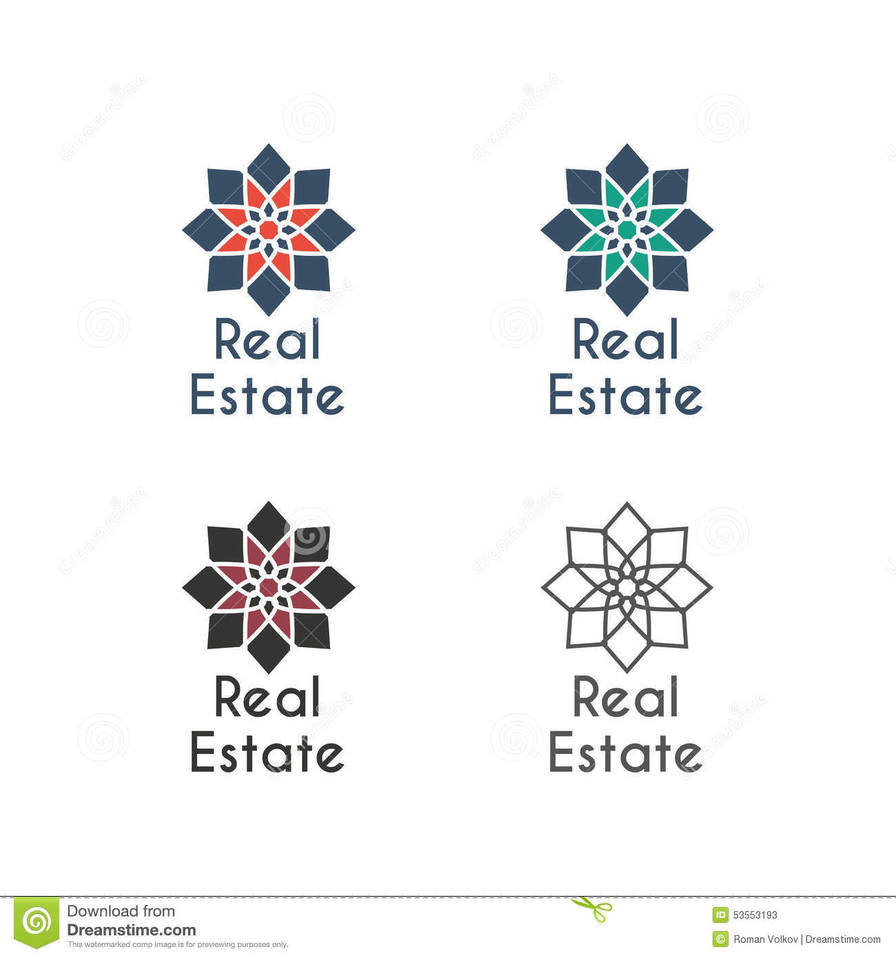 Apartment Rental Agency: Vector Asian Logo Templates Stock Vector
